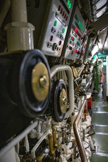 Close-up of machine part in factory