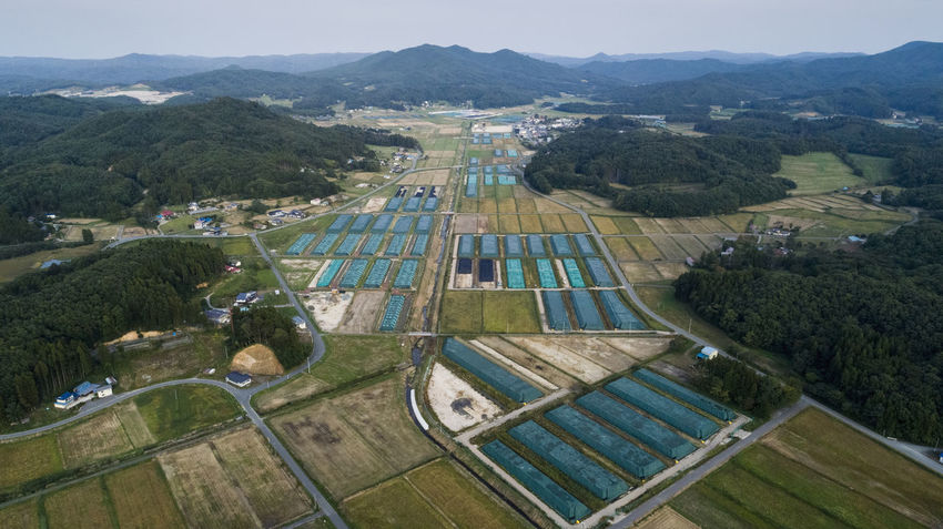 Nuclear waste storage area in Iitate, Fukushima prefecture in Japan. Adopting a return to normal policy, the Japanese government undertook an unprecedented decontamination program for areas of Fukushima contaminated by the tripe reactor meltdown in March 2011. Fukushima prefecture is 70 percent mountainous forest which has not and cannot be decontaminated, with decontamination efforts focussed along roads and in towns, farmland and in narrow areas around peoples houses. The result has been that the Japanese authorities have produced a nuclear waste crisis, with over 7 million tons of waste located in 147,000 locations (as of August 2017). Aerial Shot Drone  FUKUSHIMA Japan Radioactive Radioactive Catastrophy Accidents And Disasters Aerial Aerial View Disaster Dronephotography Environment High Angle View Iitate Landscape Mountain Nature No People Nuclear Outdoors Prefecture Radiation Radioactivity Storage Waste