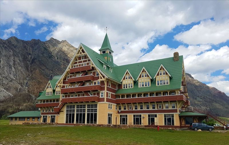 Prince Of Wales Hotel Prince Of Wales Hotel Waterton Lakes National Park Canada EyeEm Best Shots Eyemphotography Canadian Rocky Mountains Alberta City History Ancient Tradition Royalty Ancient Civilization Sky Architecture Grass