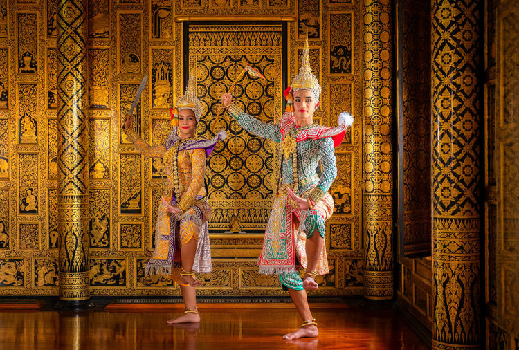 Art culture Thailand Dancing in masked khon in literature ramayana,Thai classical monkey masked, Khon,Thailand Women Full Length Indoors  Dancing Arts Culture And Entertainment Two People Adult Females Togetherness People Performance Elégance Travel Destinations Young Women Young Adult Architecture Girls Performing Arts Event Stage Creativity