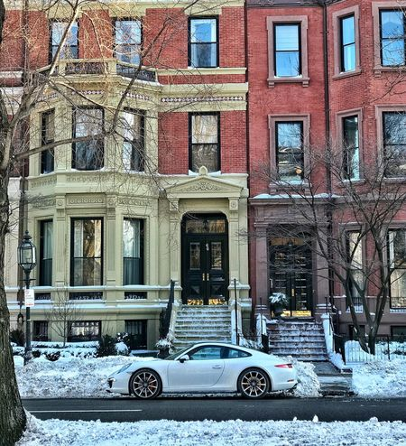 Back bay Car Transportation Architecture Building Exterior Land Vehicle Window Built Structure Mode Of Transport Snow Winter Outdoors Day Cold Temperature No People City