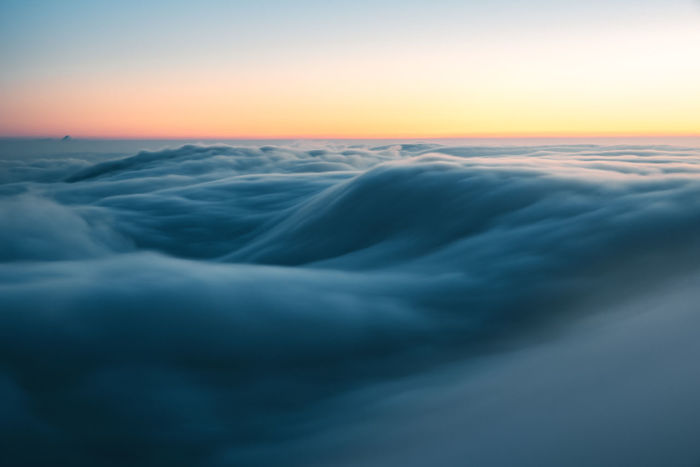 Amazing fog wave at dawn on the Belchenflue. Basel Belchen The Week On EyeEm Above The Clouds Beauty In Nature Belchenflue Blue Clouds Cold Temperature Dawn Day Fog Idyllic Long Exposure Nature Nebelwelle No People Outdoors Scenics Sea Sky Sunset Switzerland Tranquil Scene Tranquility Shades Of Winter
