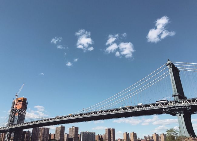 Connection Sky Bridge - Man Made Structure Built Structure Architecture Low Angle View Suspension Bridge Cloud - Sky No People Day Outdoors Blue Transportation City Cable Building Exterior Architecture City Urban Brooklyn Manhattan NYC New York Brooklyn Bridge / New York Minimalism