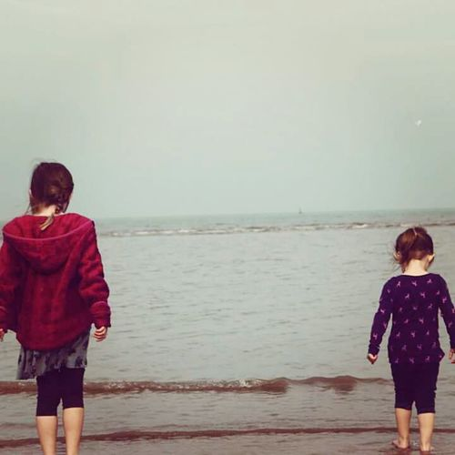 Child Two People Rear View Children Only Childhood Beach People Sea Standing Walking Elementary Age Full Length Sand Outdoors Vacations Day Water Girls Sisters Sisters ❤ Friendship Worldsyouroyster Future Vision