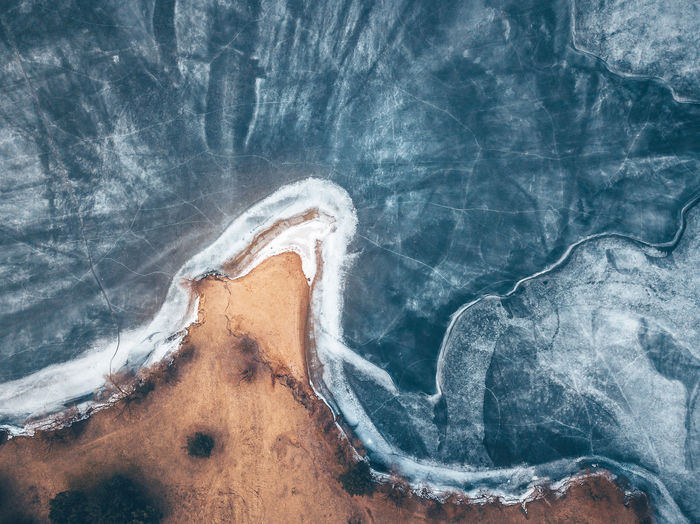 Aerial view of frozen sea