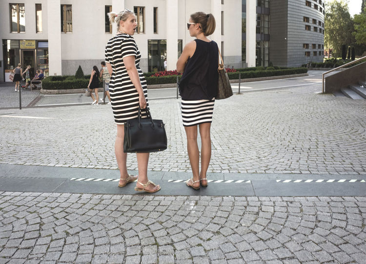 everybody stripes Casual Clothing City Life Cobbled Color Palette Everyday Emotion Everyday Life Everyday Lives Eyeemphoto Fashion Friendship Girls Pattern, Texture, Shape And Form Patterns Patterns & Textures Paving Stone Standing Street Streetphotography Stripes Everywhere Style Stylish Summer 2016 Today's Hot Look Urban Landscape People And Places