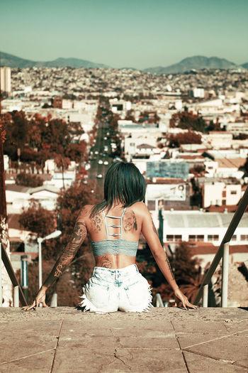 Rear View One Woman Only City Beauty Women Cityscape Day Young Women One Young Woman Only Beautiful Woman Outdoors Summer Tattooedgirls Tattoo Girl Tattoo