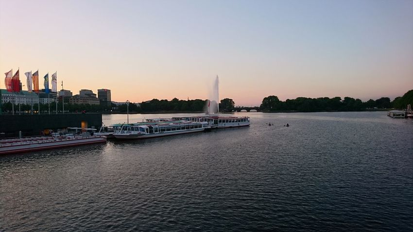 Alster sunset. Hamburg Germany Hh Alster Alster River Sunset Binnenalster Boats Boats⛵️ Dusk River Waterfront Pier Horizon Over Water Horizon City Cityscape Urban Skyline Politics And Government Water Skyscraper Sunset River Bridge - Man Made Structure Sky