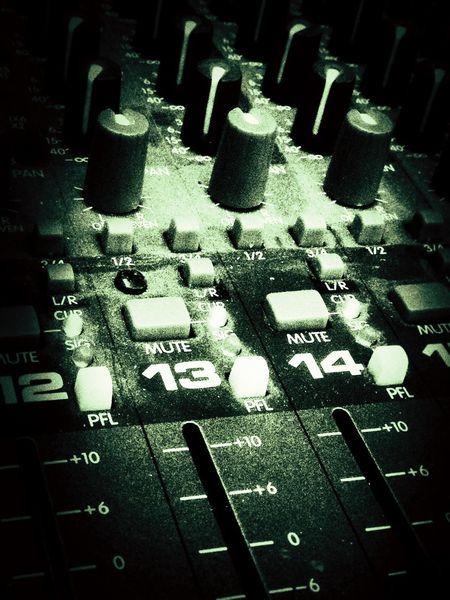 A sound mixing desk. Mixing Desk Sound Desk Dials Switches Knobs Slider Slides Buttons Levels Mixer Desk