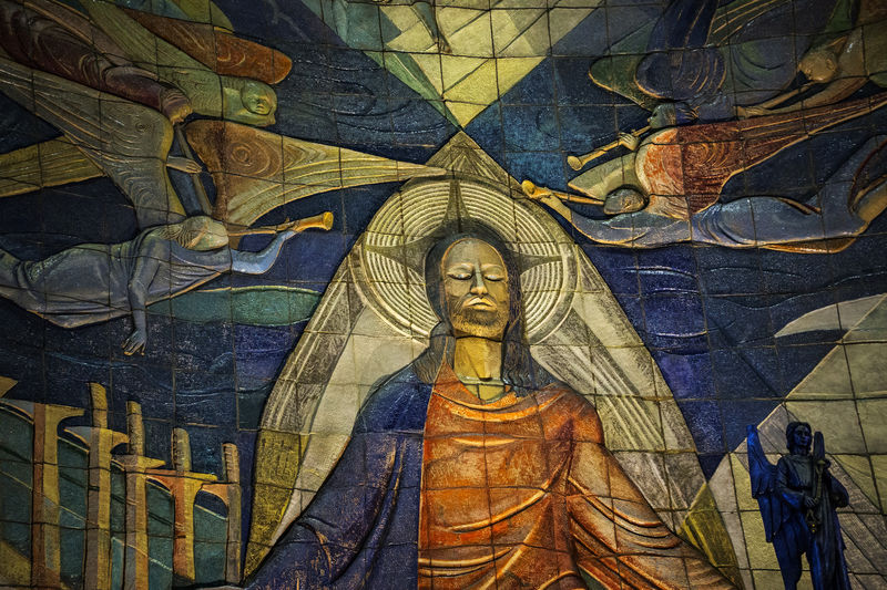 Hartford, Connecticut, USA. Hartford reportedly has the largest ceramic mural in the world. it is found at the Cathedral of St. Joseph, Hartford, Connecticut; This is but a small portion of the entire reredos, an 80 by 40 foot work of art by Enzo Assenza (1915-1981). Resurection Cathedral Of St. Joseph Christianity Enzo Assenza Hartford Ct  Hartford, Connecticut Mosaic Religious Art Tourist Attraction  Ceramic Mural Christ Local Landmark Mosaic Art Religion Reredos Spirituality