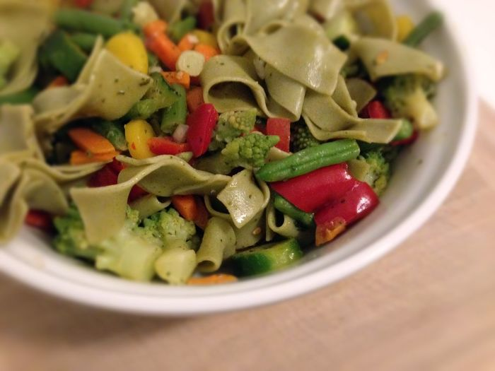 colorful vegetables with tagliatelle on plate Bowl Close-up Food Freshness Healthy Eating Healthy Lifestyle Meal Noodles Ready-to-eat Tagliatelle Vegetable Vegetables Vegetables & Fruits Vegetarian Food Vegetarian Food