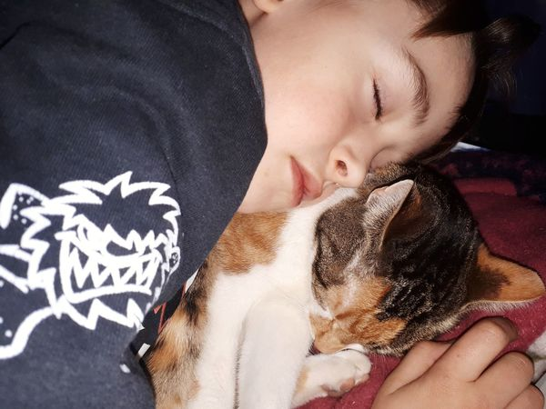 sleeping babys Sleeping Cat Sleeping Child Child And Cat Cat And Child Cats Of EyeEm Cat Crazy Cat Cats Cat Lovers Two People Adult People Headshot Happiness Togetherness Young Adult