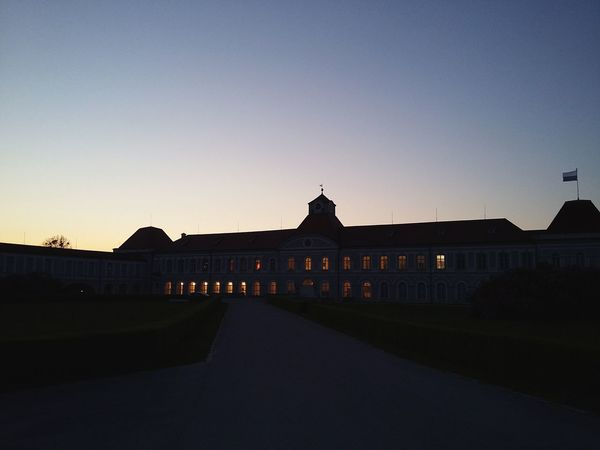 Wing of Schloss Nymphenburg. · Munich München Germany 089 Nymphenburg Palace Architecture Building Lights SplitScreen Light And Shadow Silhouette Sunset Dusk Last Light Of Day