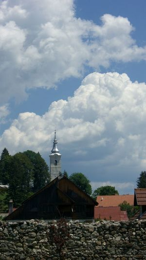 Blue Building Exterior Church Cloud Cloud - Sky Cloudy Rooftops Sky Tower Transylvania Behind A Wall
