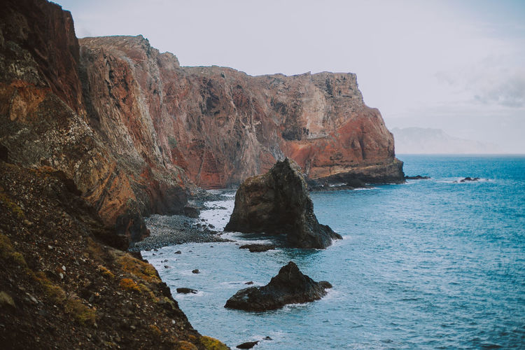 Rock Sea Water Solid Beauty In Nature Rock Formation Scenics - Nature Tranquil Scene Horizon Over Water Nature Rocky Coastline Madeira Madeira Island Portugal Island Travel Destinations Canon Tranquility