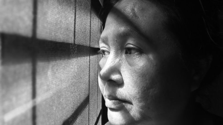 Emotion Life Textured  Sunshine Shadow Memory Sad & Lonely Relaxing Black & White Door Steel Door House Aisa LINE Wrinkle Thinking Black Only Women One Young Woman Only One Person Adults Only Headshot Close-up Adult Loneliness Human Eye People Indoors  Day
