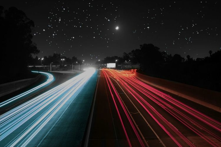Blurred motion of road at night