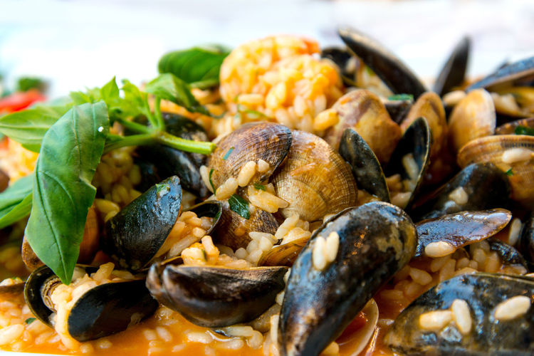 Close-up of mussels with risotto served