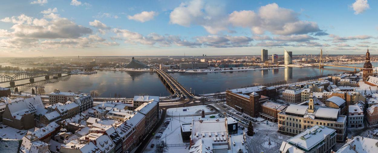 High Angle View Of City At Harbor