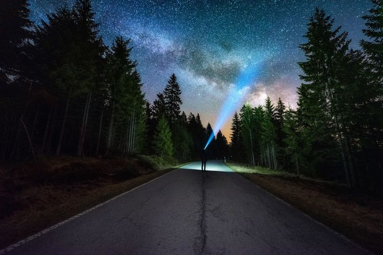 Silhouette man standing on road amidst trees in forest against star field at night