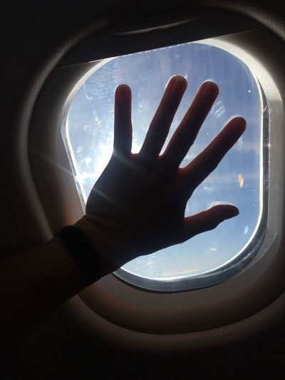 hand off Human Hand Window Human Finger Indoors  One Person Real People Transportation Airplane Sky