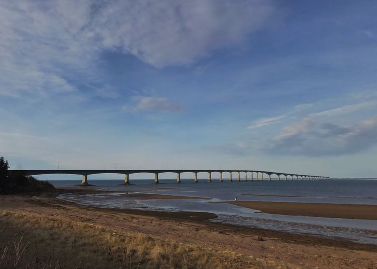 Confederation Bridge from the New Brunswick landing. New Brunswick, Canada Confederation Bridge Bridge - Man Made Structure Sky Connection Architecture Built Structure Cloud - Sky No People Bridge Beach Clamming Northumberland Straight