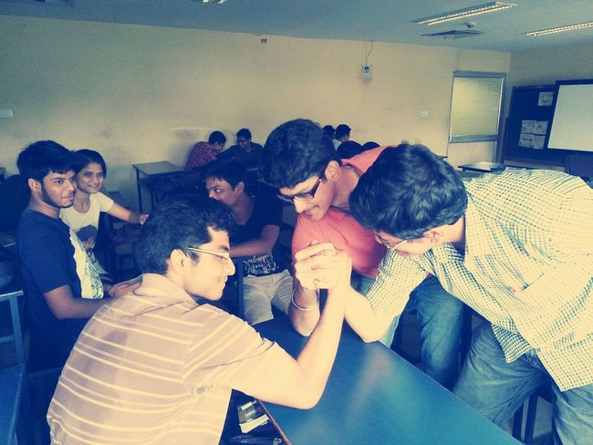 RePicture Friendship College Life Buddies Armwrestling Enjoying Life