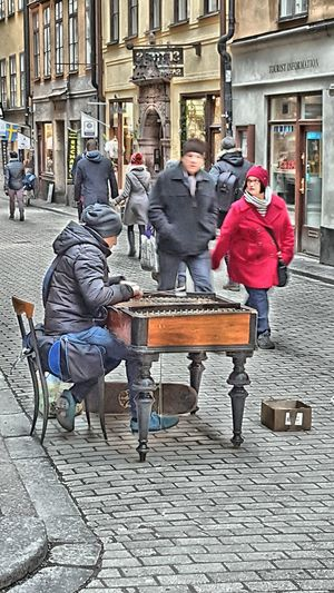 Street musician in Stockholm Taking Photos Hdr_Collection Hdr_gallery Hdr_captures Stockholm Ladyphotographerofthemonth HDR Streetphotography Hdr_pics People Photography Sweden Architecture Gamla Stan Streetmusician Playing Music Music