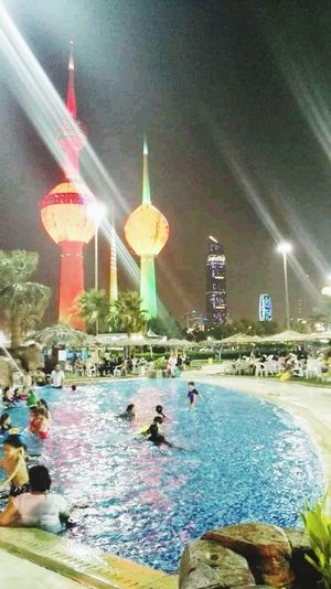 Towers Of The City Kuwaitcity Aquapark Kuwaitnightlife Water