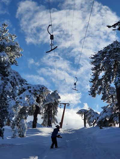 Ski elevator on olympos the highest mountain of cyprus