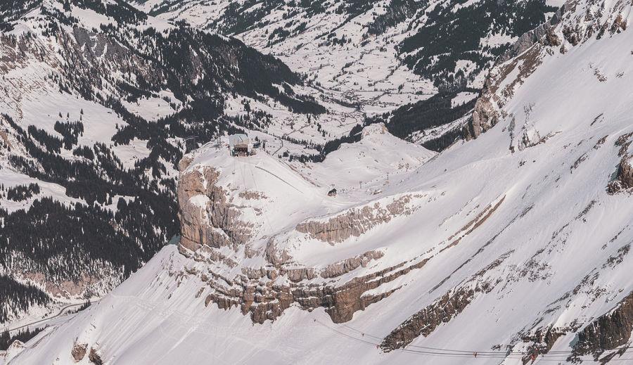 Snow covered landscape against mountain range