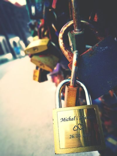 Wroclove Love Is In The Air Future Wife Shesmine EyeEm Best Shots Lock Mistery Atmosphere Padlock Security Focus On Foreground Love Lock Protection Safety Close-up Love Hope - Concept Text Hanging Metal No People Day Hope Outdoors