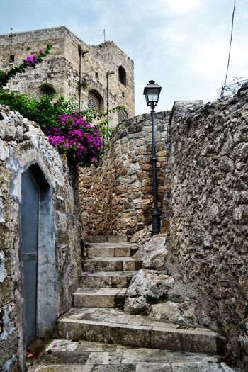 Ancient Ancient Civilization Architecture Building Exterior Built Structure Castromarina City Day Flower History Italy Low Angle View No People Old Buildings Oldtown Outdoors Puglia South Italy Salento Puglia Sky Verticale  Wall - Building Feature