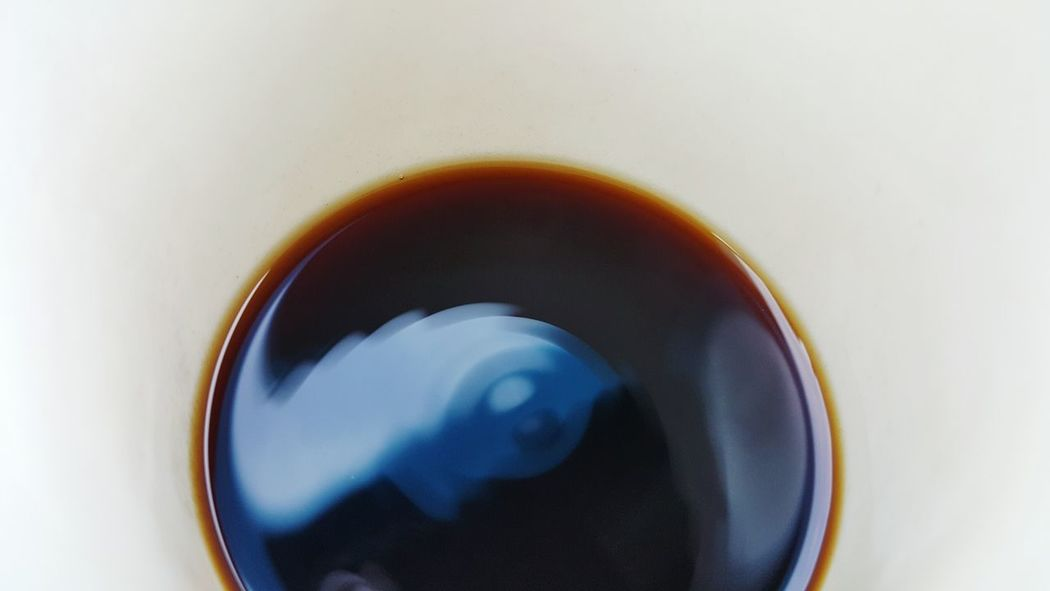 Close-up Vibrating Liquid Waves Motion Sound Inside A Coffee Cup Coffee Liquid Drink Vibration Ripples Perspective