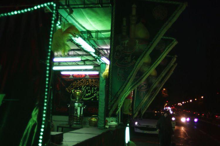 Tehran Iran Street Photography Tea Place Nightscape Night Illuminated Lighting Equipment Green Color