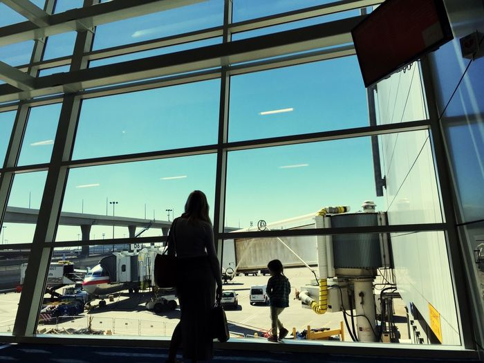 DFW Dfw International Airport Airport Airplane AirPlane ✈ Spring Windows Window Silhouette Mom And Daughter
