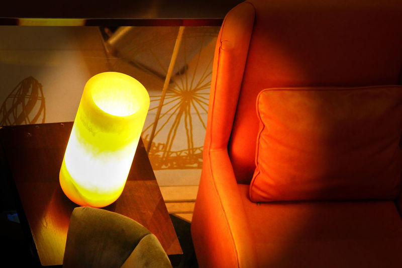 Orange Couch No People Yellow Table Table Lamp Interior Design Living Room Light On The Wall Orange Color Light Equipment Illuminated