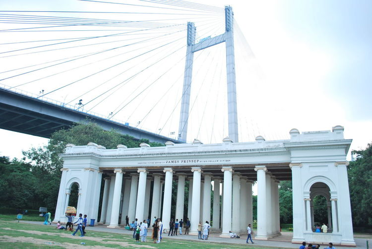 Princep Ghat Adult Adults Only Architectural Column Architecture Bridge - Man Made Structure Building Exterior Built Structure City City Gate Connection Day Large Group Of People Outdoors People Real People Sky Suspension Bridge Tourism Travel Travel Destinations