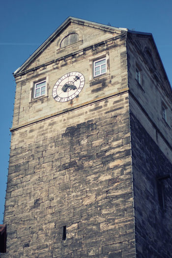 Stadtturm in Kronach Stadtturm Architecture Bayern Building Exterior Built Structure Clock Clock Face Clock Tower Day Kronach Low Angle View Minute Hand No People Oberfranken Outdoors Roman Numeral Sky Time Tower Window