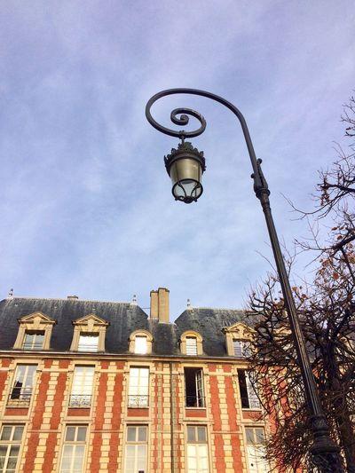 Lamp Lampost Sky Building Blue Sky Place Des Vosges IPhoneography
