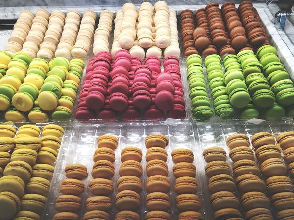 Different Macaroons in a store at Paris Sandwitch Sweet Food Flavor Confectionery Tasty Candy Sugar Buiscuits Macarons Fast Food Dessert Frensh Breakfast Cookies Choice Food And Drink Still Life For Sale Sweet Food Freshness Temptation Dessert No People