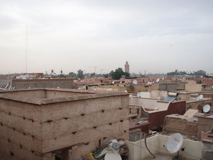 Africa City Landscape Marrakech Marrakesh Morocco Residential  Roof Roofs Rooftop Rooftops Satellite Dishes Urban