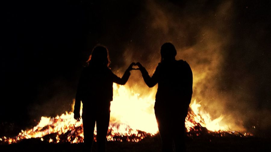 Burning Flame Heat - Temperature Night People Forest Fire Firefighter Men Outdoors Adult Nature Adults Only Only Men Riot Love Herz Heart Fire Feuer Osterfeuer