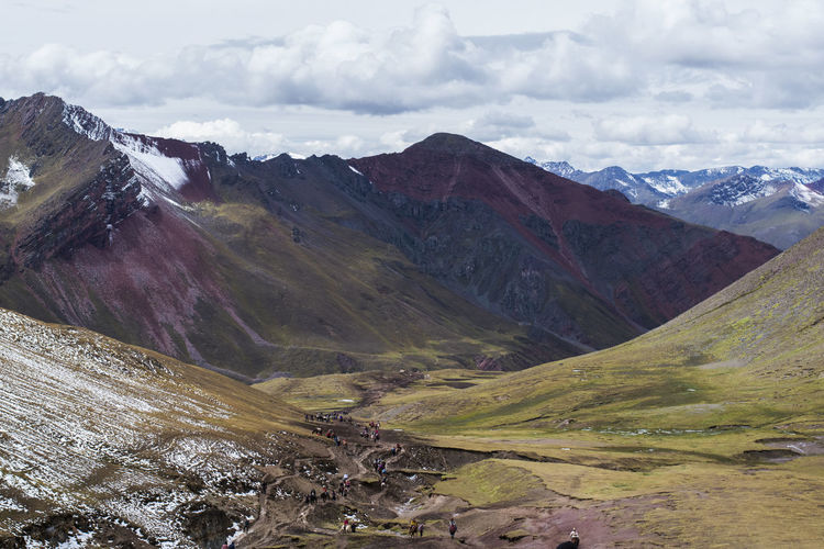 I took this picture from the top of a mountain during my Rainbow Mountain trekking trip in Peru. The view was just breathtaking. Mountain Cloud - Sky Scenics - Nature Beauty In Nature Environment Landscape Tranquil Scene Sky Tranquility Mountain Range Non-urban Scene Nature Day No People Outdoors Geology Remote Snowcapped Mountain Land Peru Rainbow Mountain Colorful Colors Trekking Travel Destinations Travel Travel Photography Spring High Angle View High Up South America Landscape_photography View Countryside Country Life Country Road Hiking Hikingadventures High Altitude From Above  Beautiful Nature Beautiful Day Beautiful Scenery Scenics Scenery Scenic View Mountain View Mountain Peak Mountains Earth