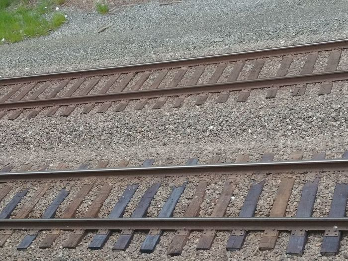 Close-up Day High Angle View Metal No People Outdoors Rail Transportation Railroad Tie Railroad Track Transportation