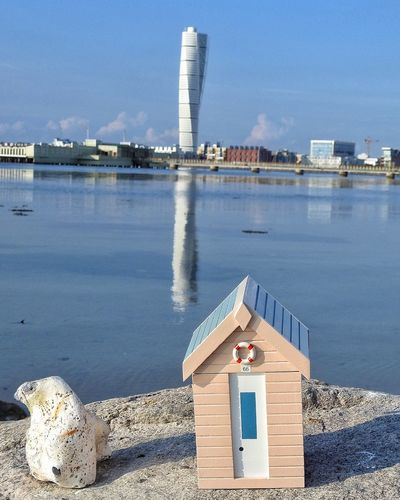 Check This Out Reflection Reflections Sweden Skåne Peaceful Seascape View Landmark Tower Turning Torso Beachhut Miniature Rock Sea
