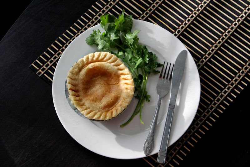 Pot pie Baking Cilantro Cooking Food Food And Drink Fork Freshness Healthy Eating Indoors  Indulgence Leaf Meal No People Pie Plate Pot Pie Ready-to-eat Served Serving Size Spoon Still Life Table My Favorite Breakfast Moment
