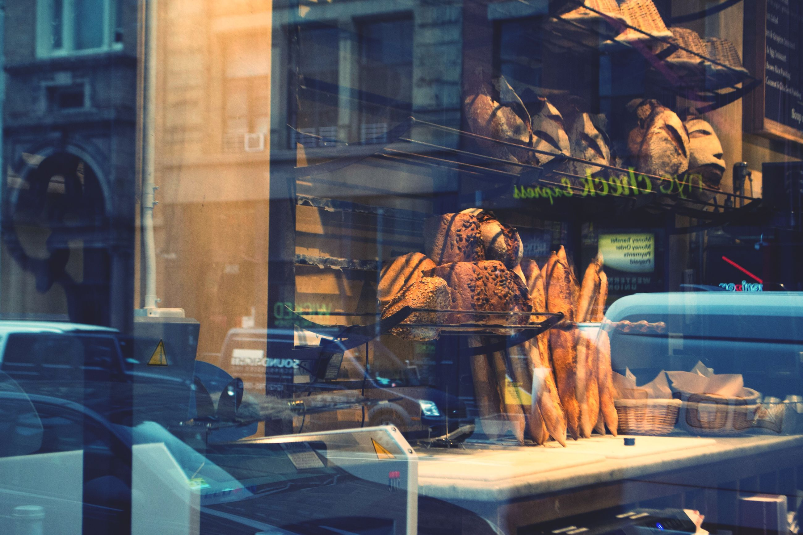 window, food, window display, bakery, store window, freshness, outdoors, day, one person, people