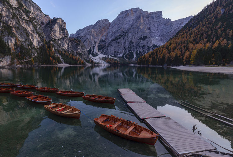 Scenic view of lake and mountains against sky at lago di braies in dolomites mountains