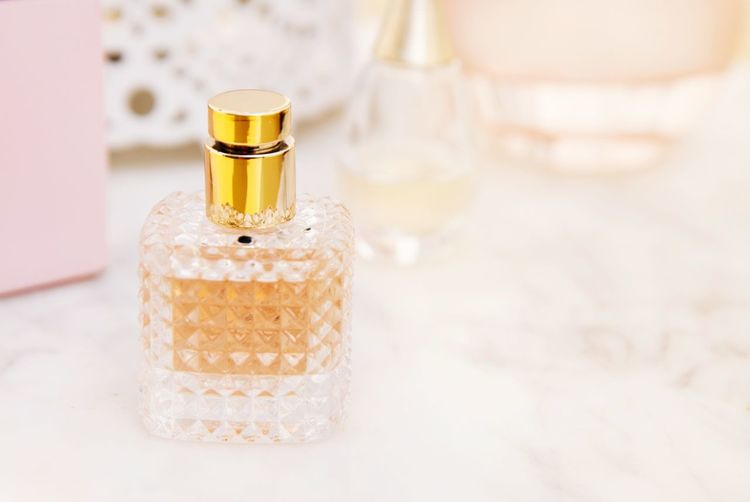 Female perfume fragrance bottle. Fashion, beauty and cosmetics. Copy space. EyeEmNewHere Fragrance Bottle Smell Gift Aroma Female Woman Feminine  Cologne Liquid Glamour Fashion Luxury Cosmetics Product Care Parfume Parfumerie Odor Perfume Perfume Sprayer Beauty Spa Body Care Pampering Females Beauty Aromatherapy Bottle Body Care And Beauty